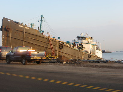 A ship that collided with a road during Hurricane Sandy