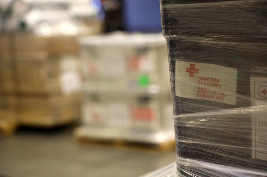 Crates of Canadian Red Cross supplies