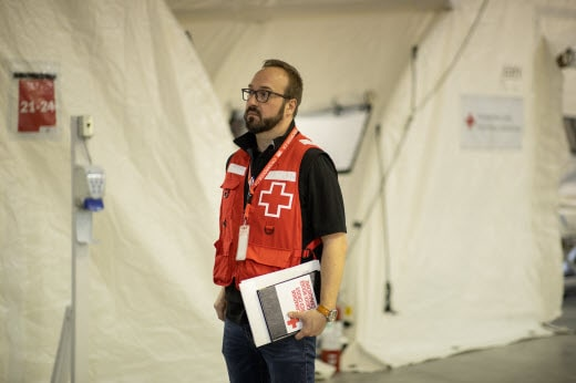 Red Cross worker assisting in Quebec COVID 19 response